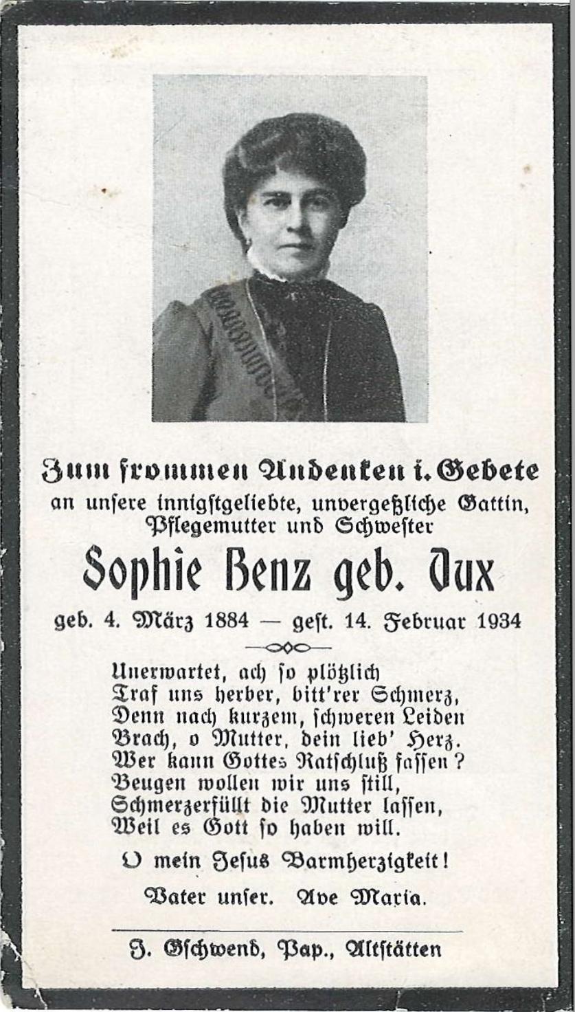 Sophie Benz geb. Dux (1884-1934)
