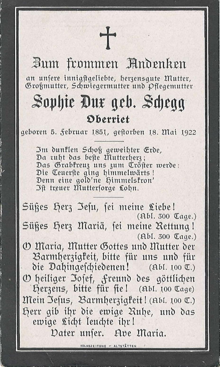 Sophie Dux geb- Schegg (1851-1922)